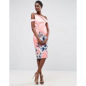 Asos Pink Floral Asymmetric Midi Dress. Size 10
